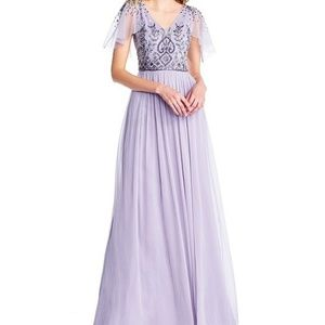 Petite V-Neck Beaded Bridesmaid Gown LILAC